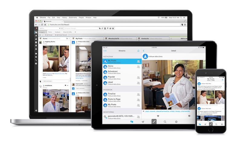 Image of multiple devices using Hootsuite